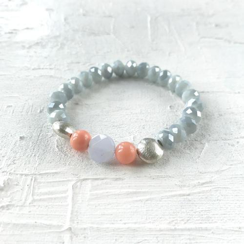 Annie bracelet grey/coral