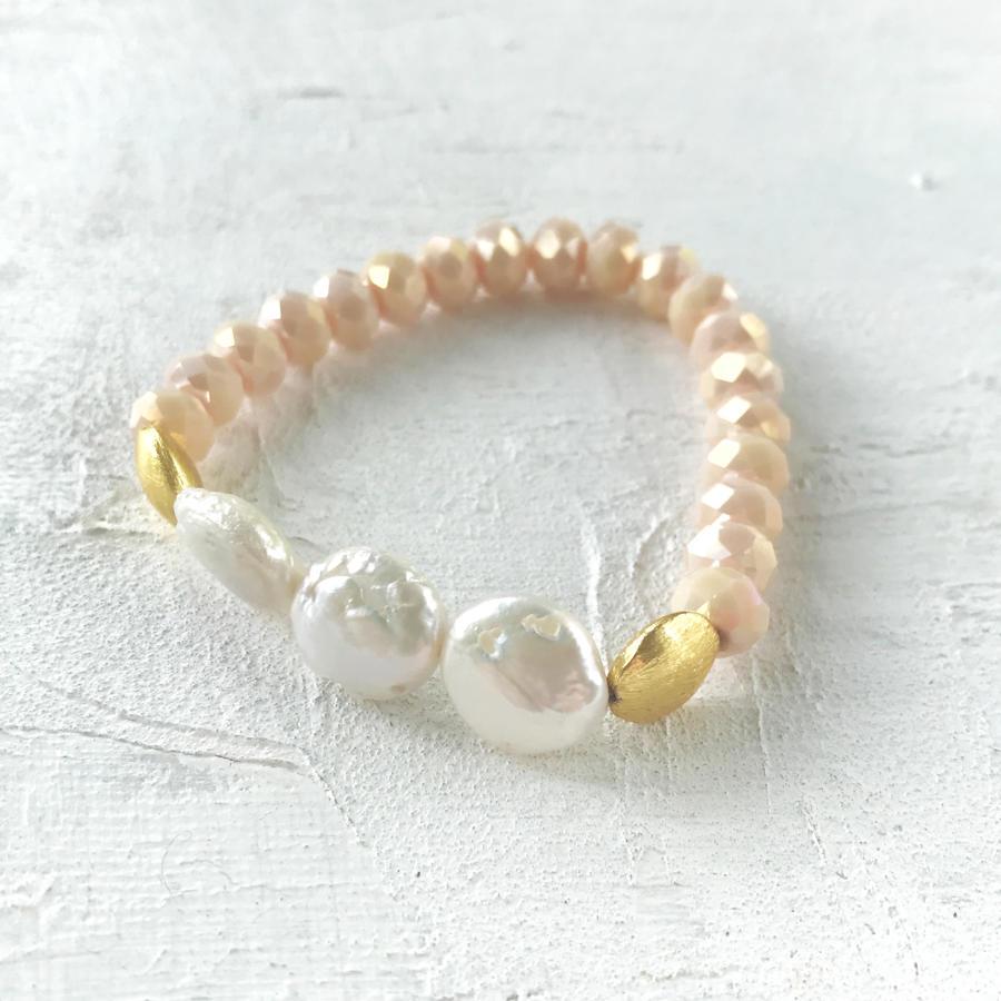 Annie bracelet blush/pearl