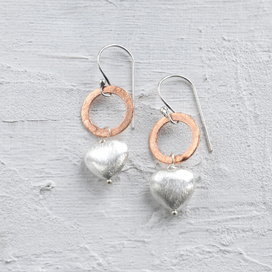 Heart on circle earring