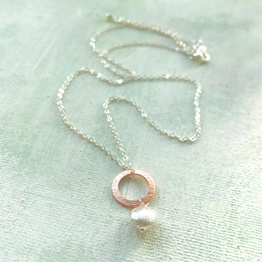 Heart on circle necklace
