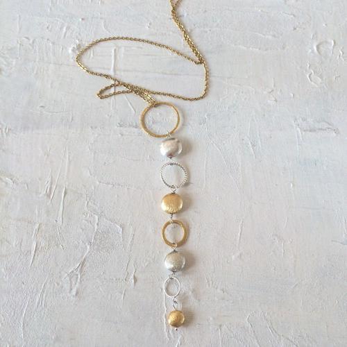 Long nugget pendant necklace