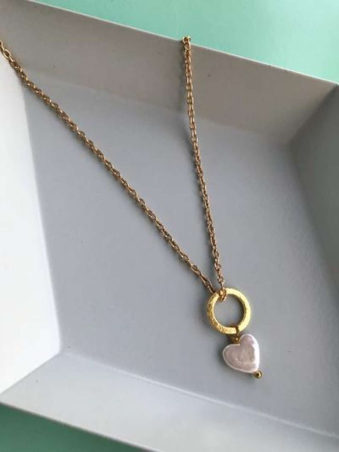 Lydia  tiny necklace with pearl heart