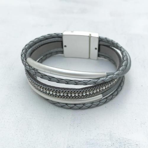 Grey leather bracelet