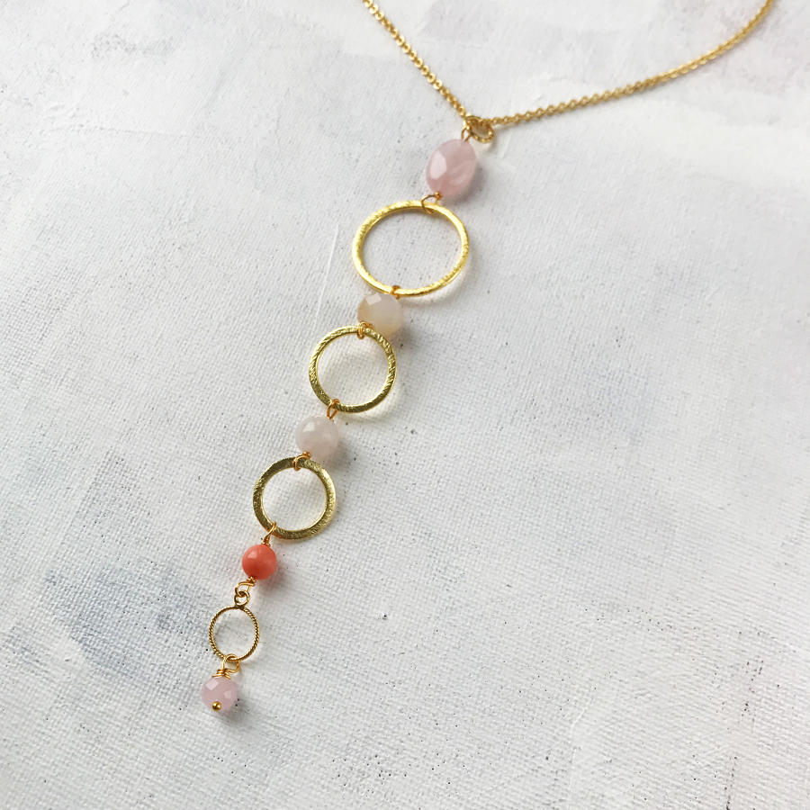 Delicate long pendant pink/coral