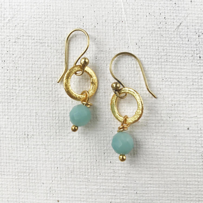 Lydia tiny earrings duck egg/gold