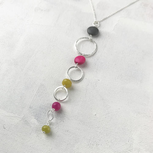 Delicate long pendant pink/lime