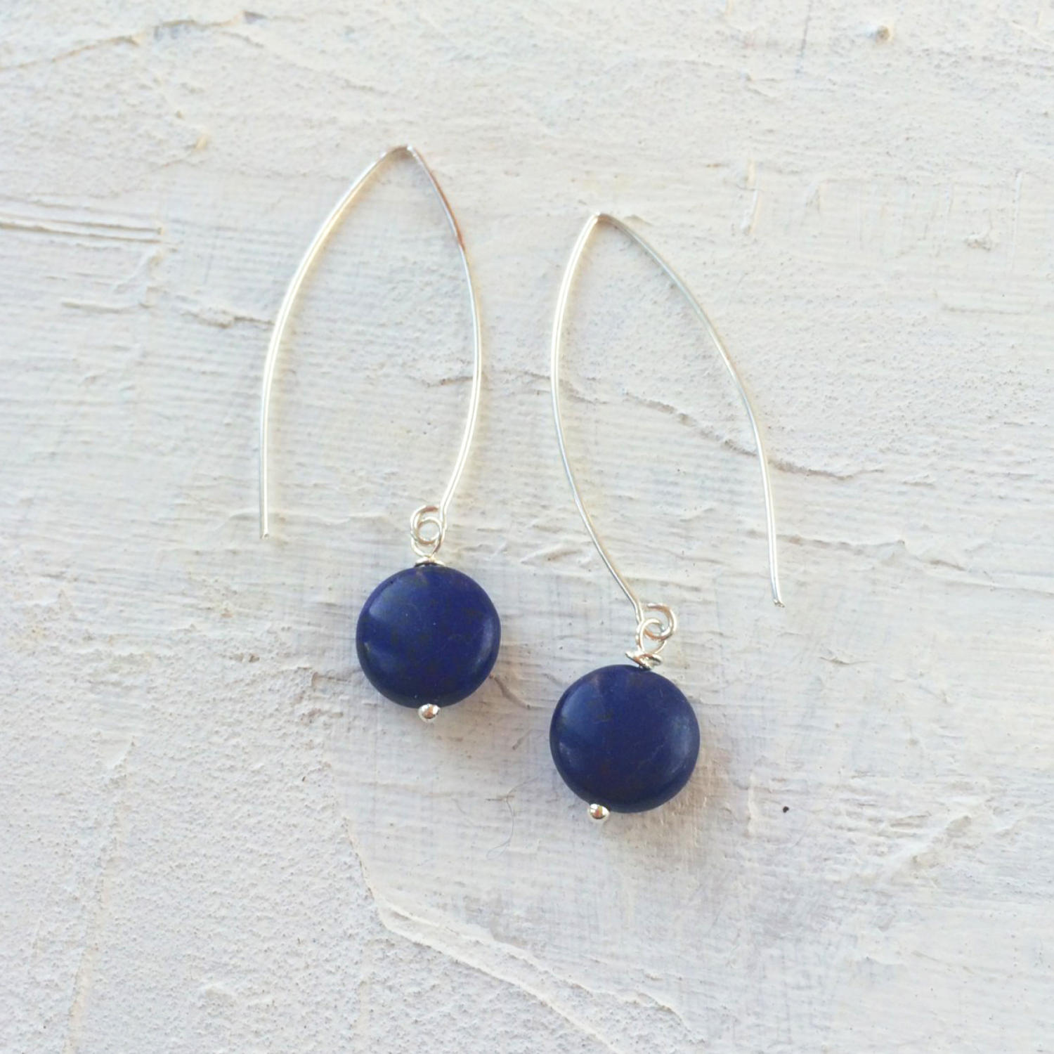 Long drop earrings navy