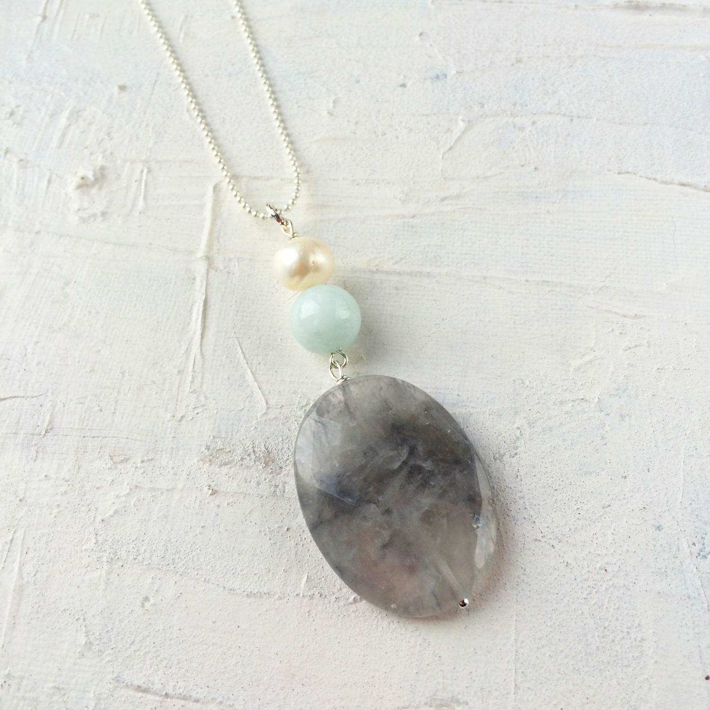 3 stone pendant grey/duck egg