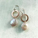 Lydia earrings with pink coin pearl - picture 1