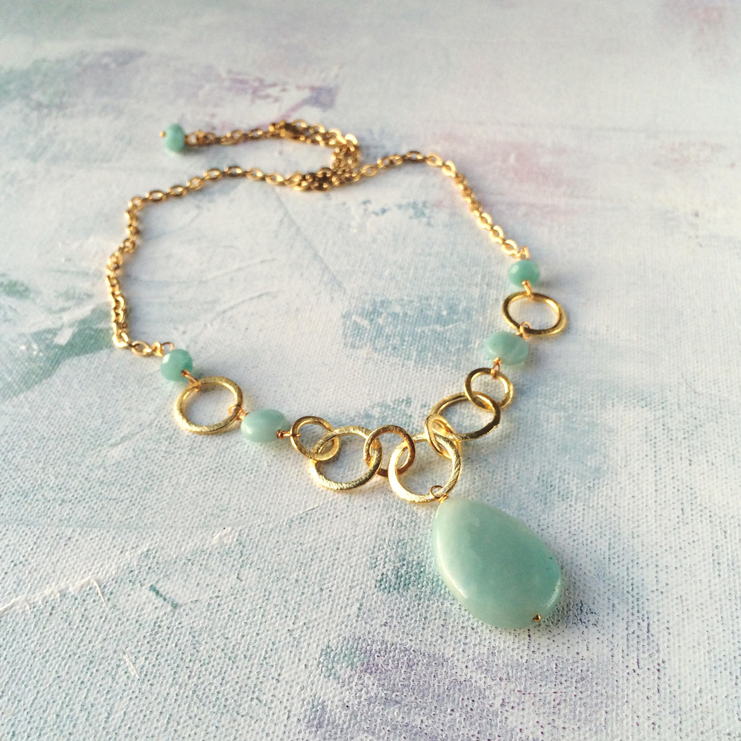 Polly necklace amazonite/gold