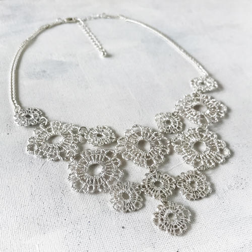 Lace necklace silver