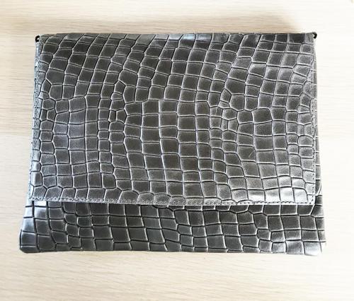 Leather clutch dark grey