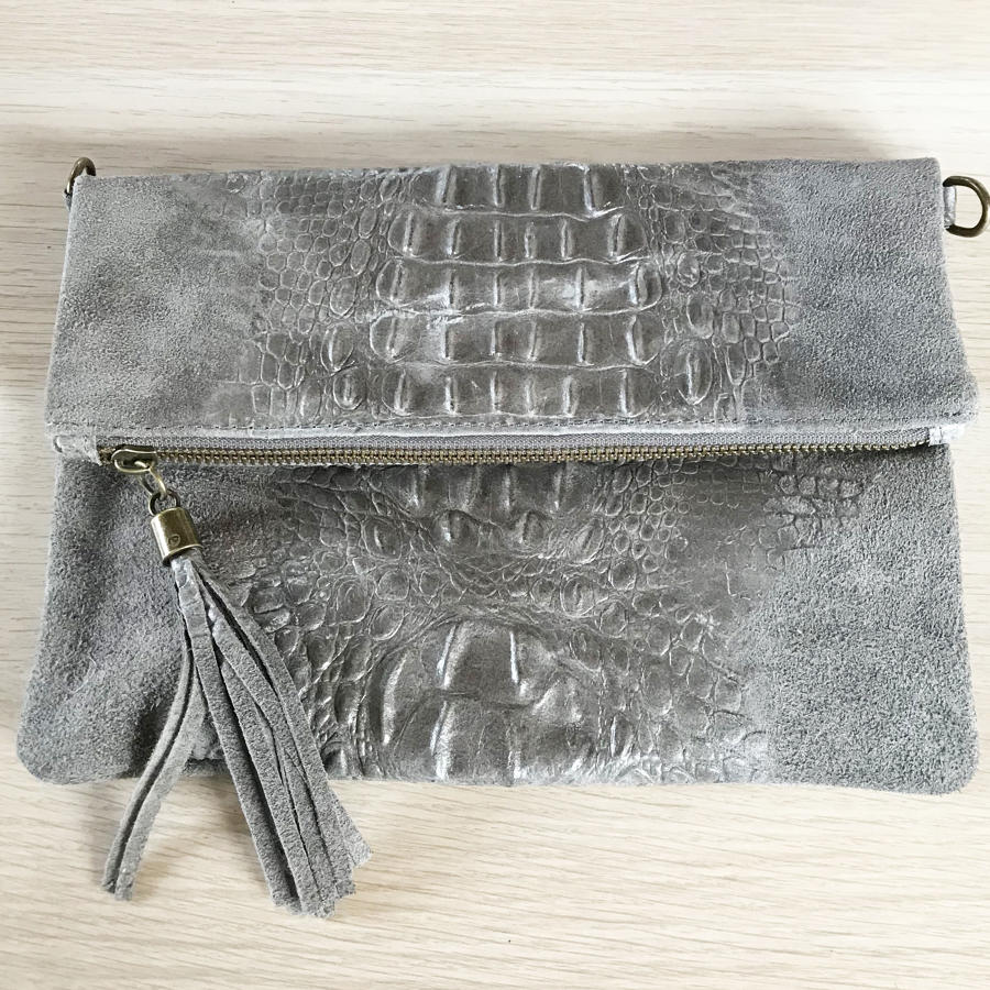 Leather clutch tassel croc