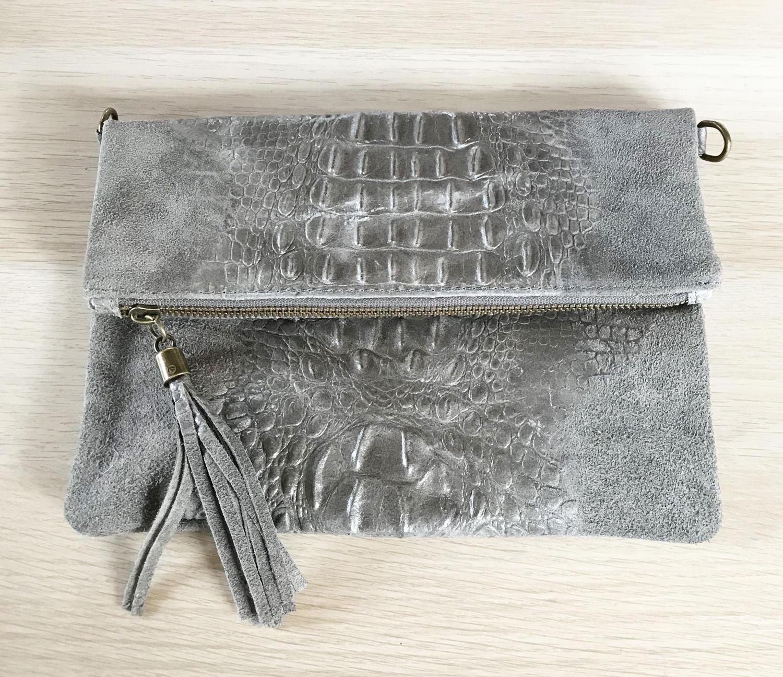 Leather clutch tassel croc