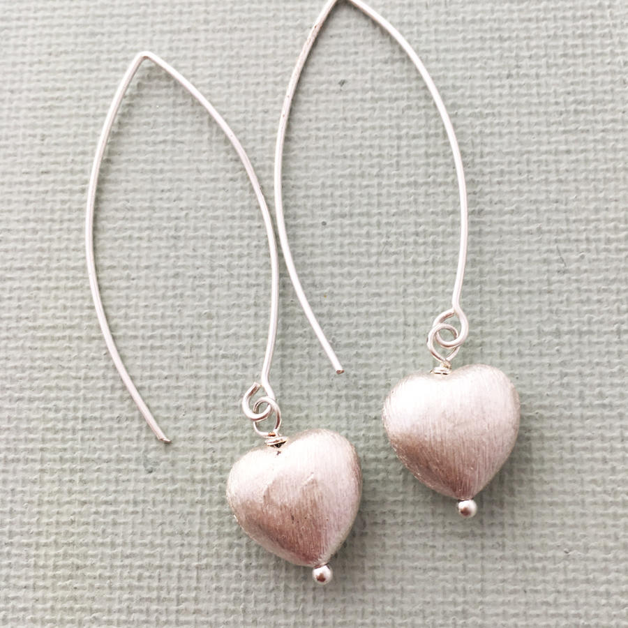 Long heart earrings