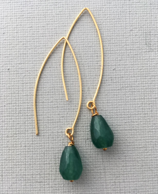 Long drop earrings emerald green