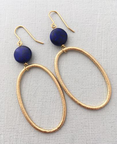 Big loop navy earrings