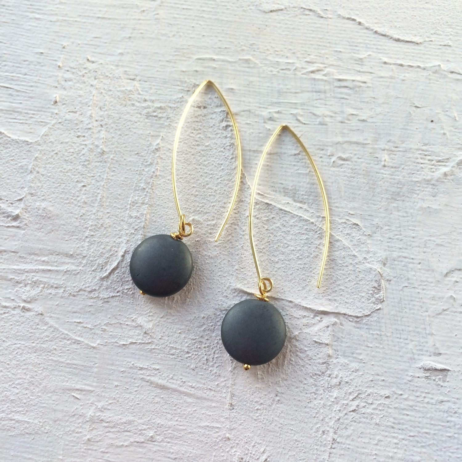 Long drop earrings hematite