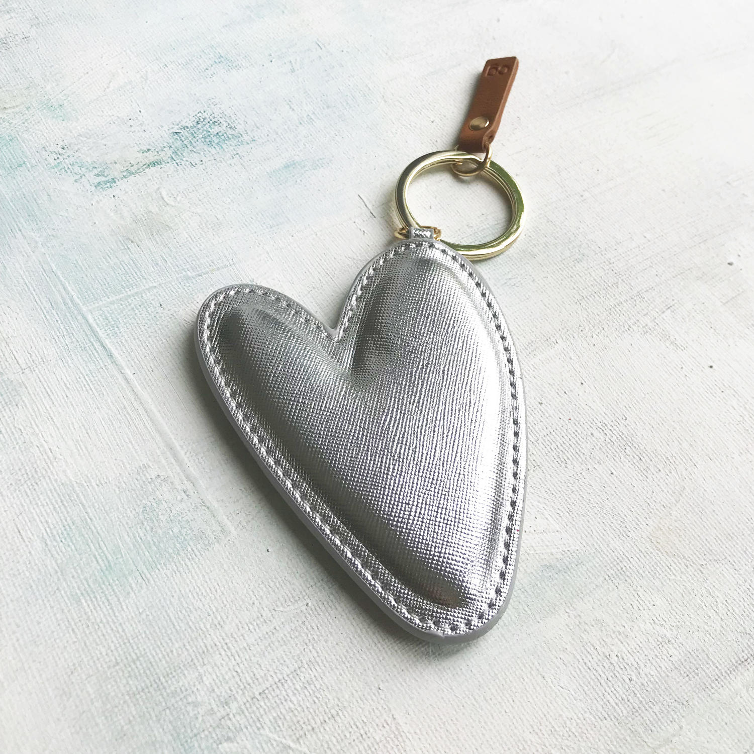 Large silver heart keyring