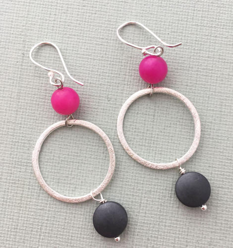 Lottie earrings pink charcoal