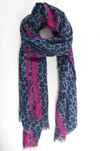 Pink/blue leopard scarf