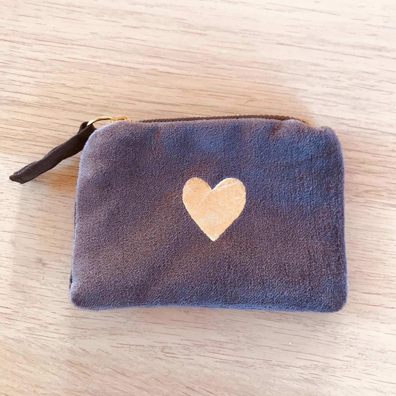 Velvet purse grey