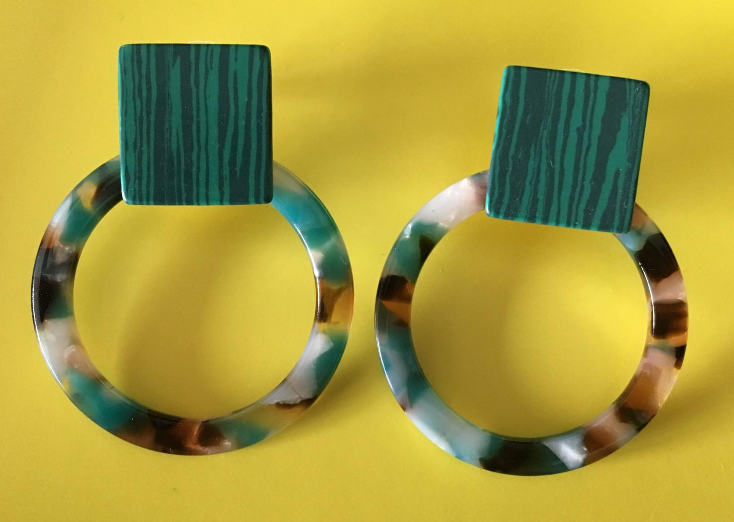 Tortoiseshell resin earrings teal