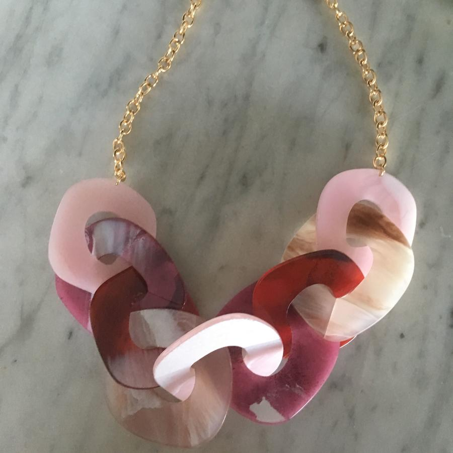 In the Pink resin necklace