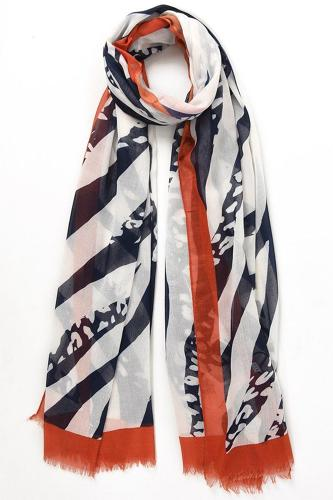 Scarf navy orange