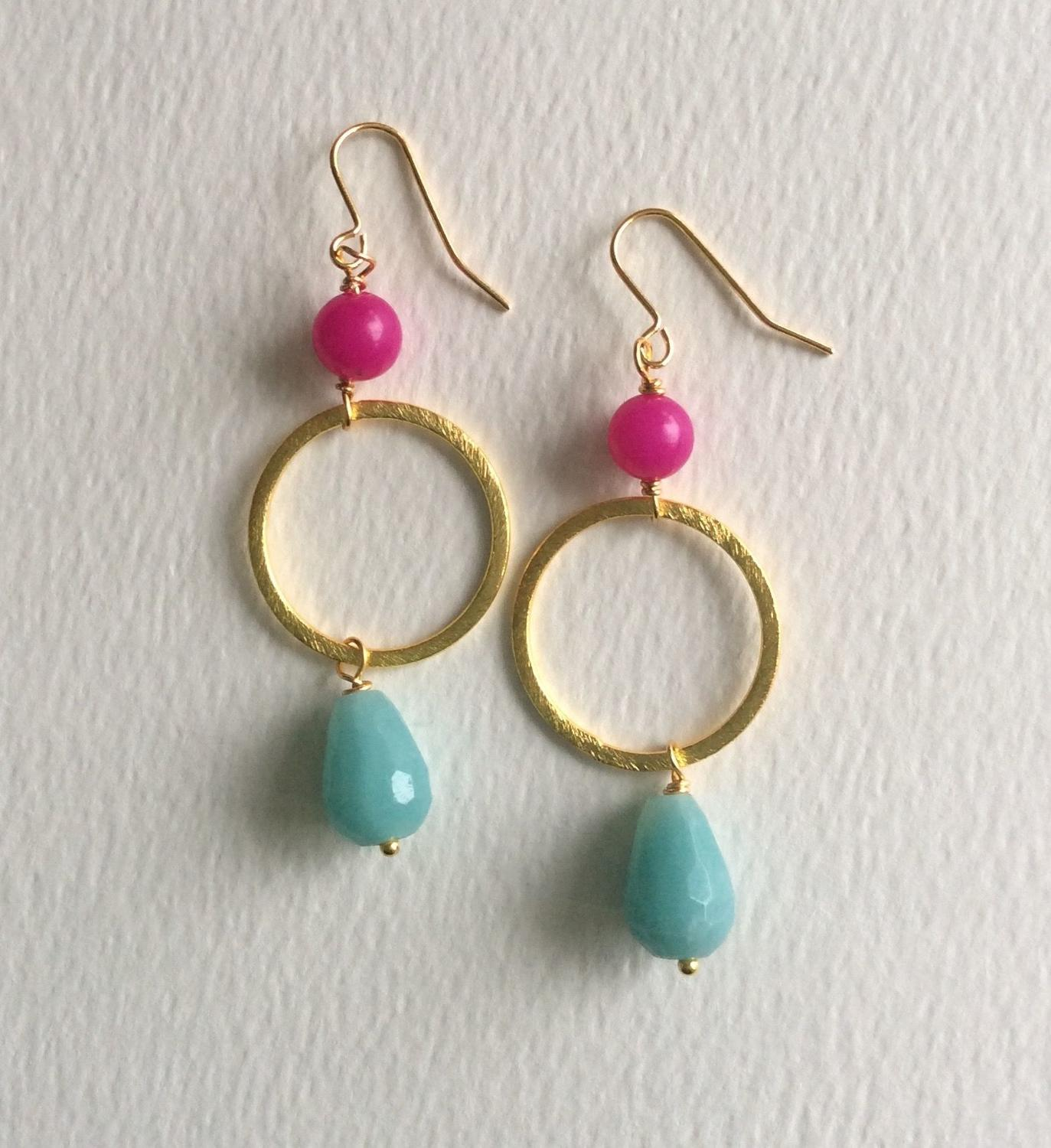 Lottie earrings in fuchsia and duckegg
