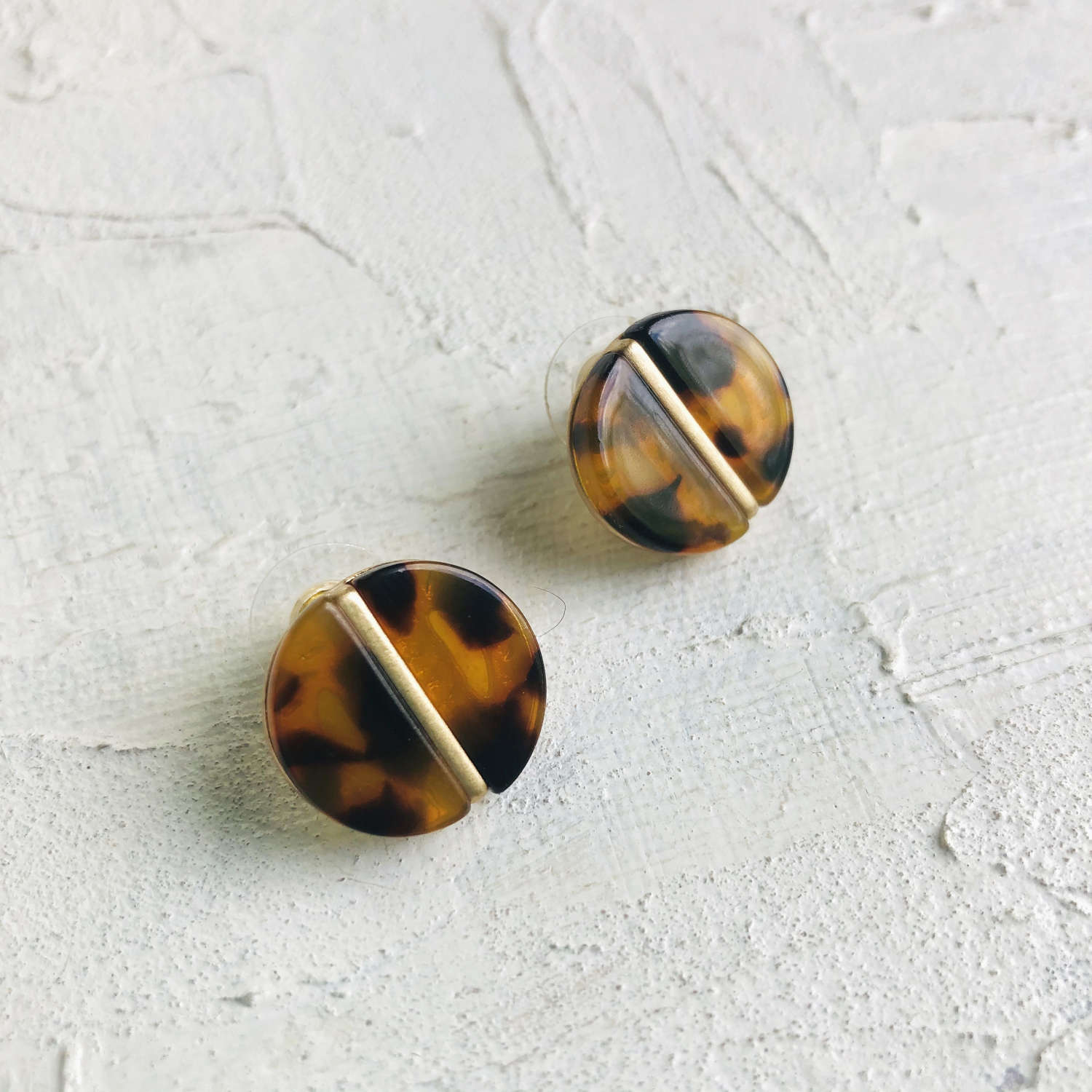 Disc earrings brown/gold