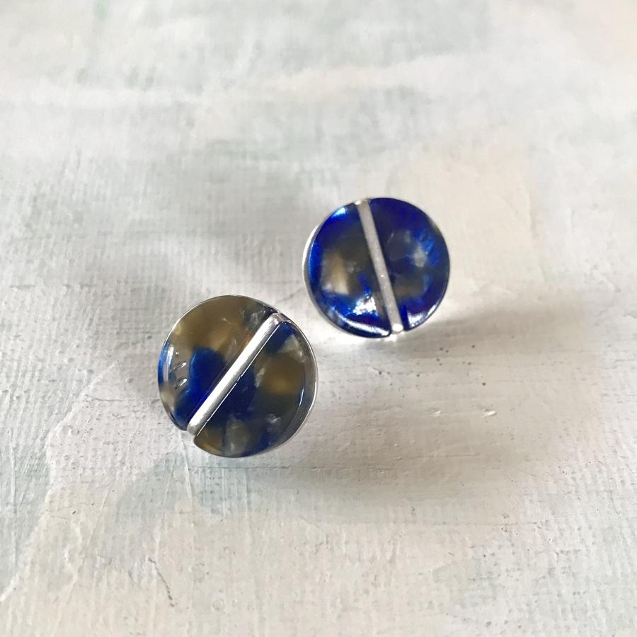 Disc earrings blue