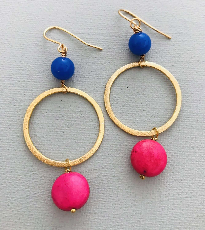 Lottie earrings pink/blue
