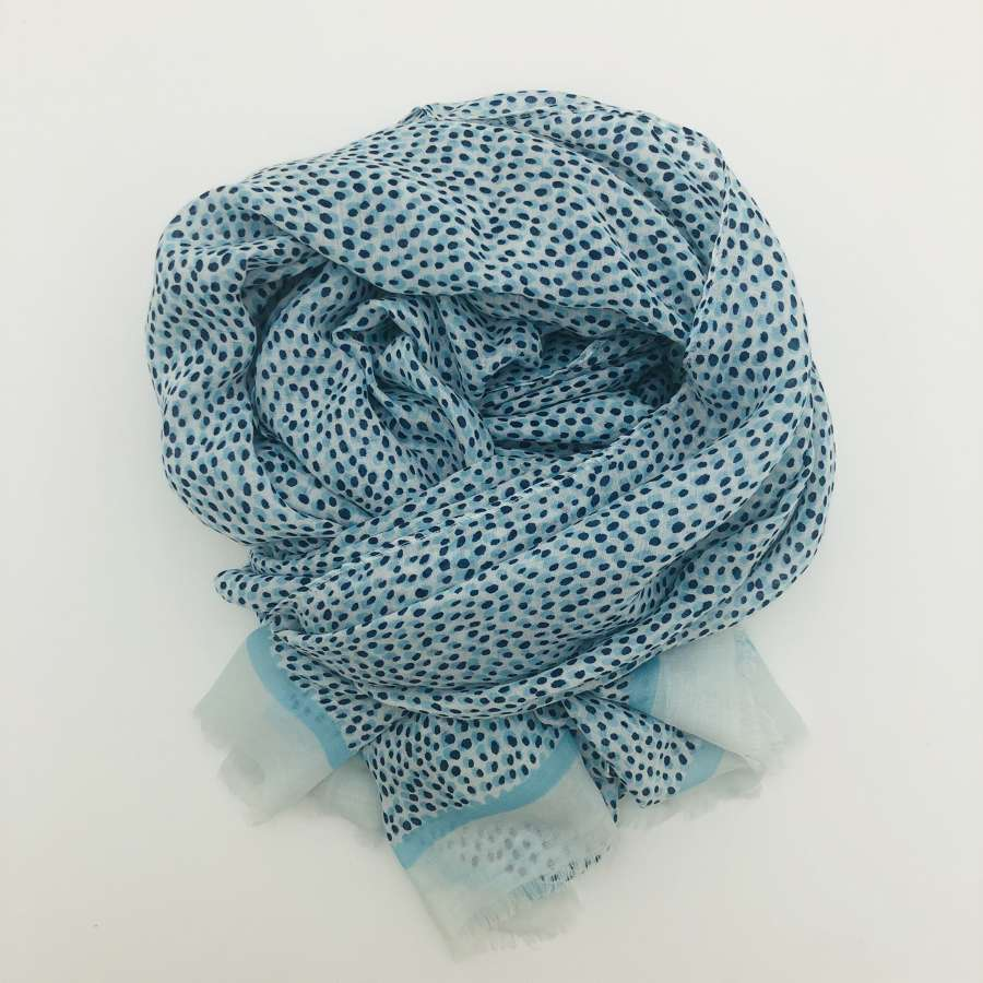 Blue spotty scarf