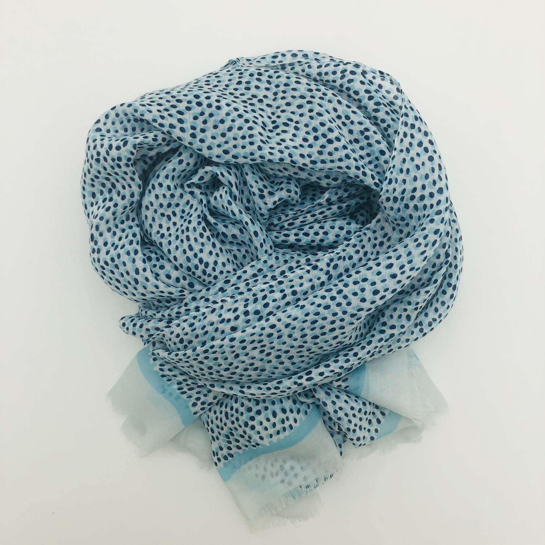 Blue spotty scarf