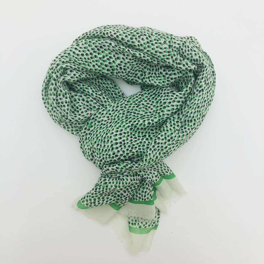 Green spotty scarf