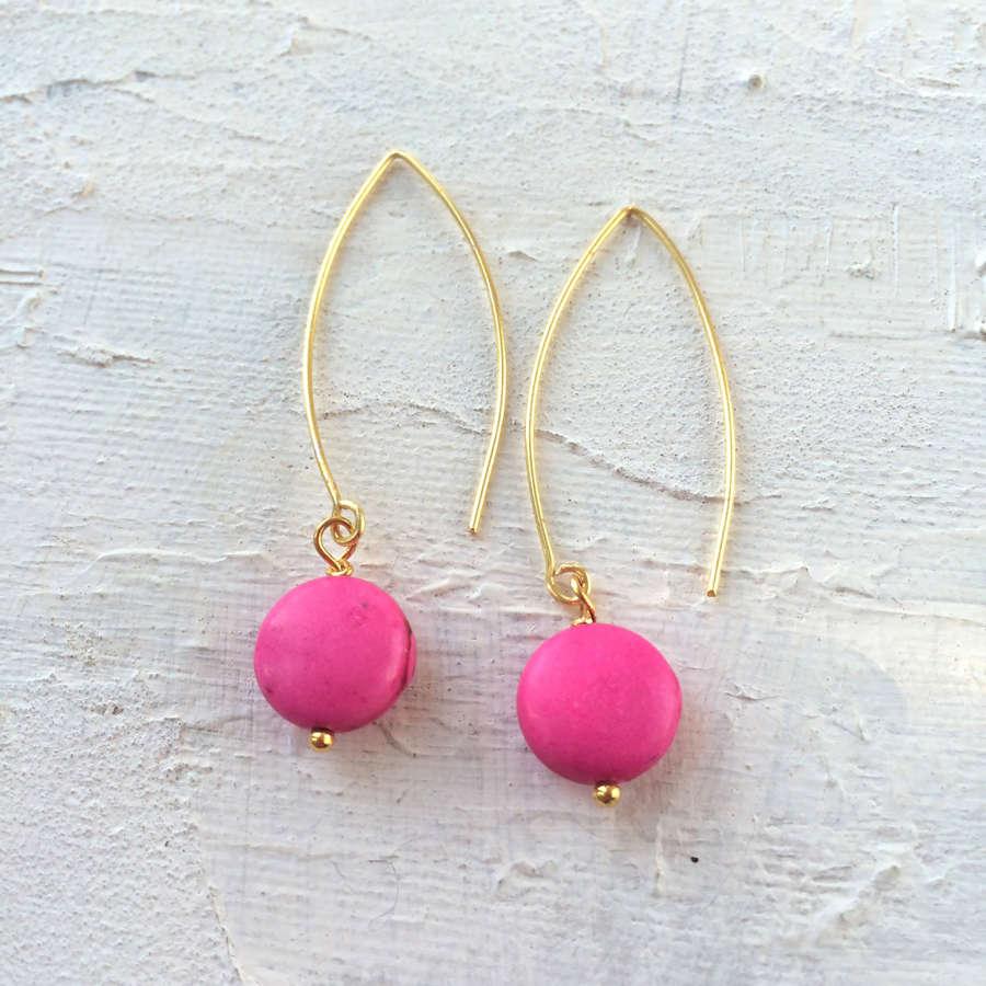 Long drop earrings candy pink