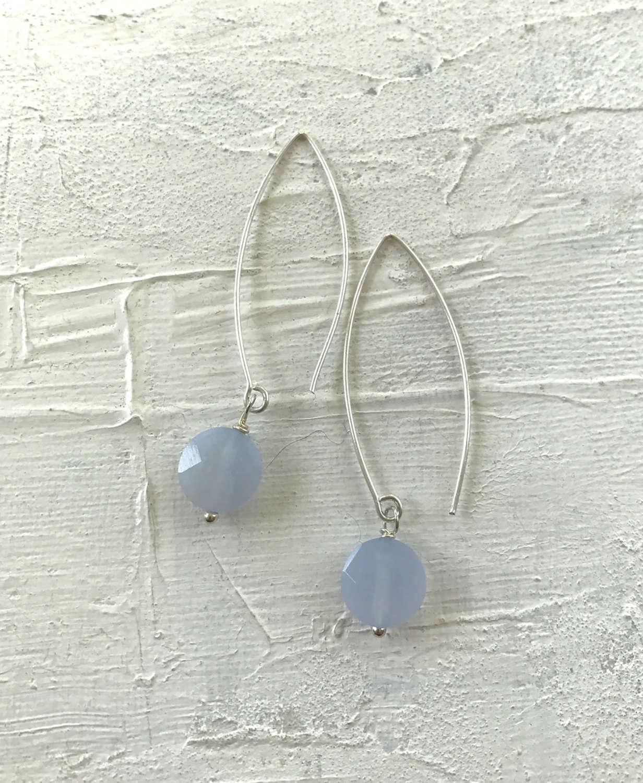 Long drop earrings ice blue