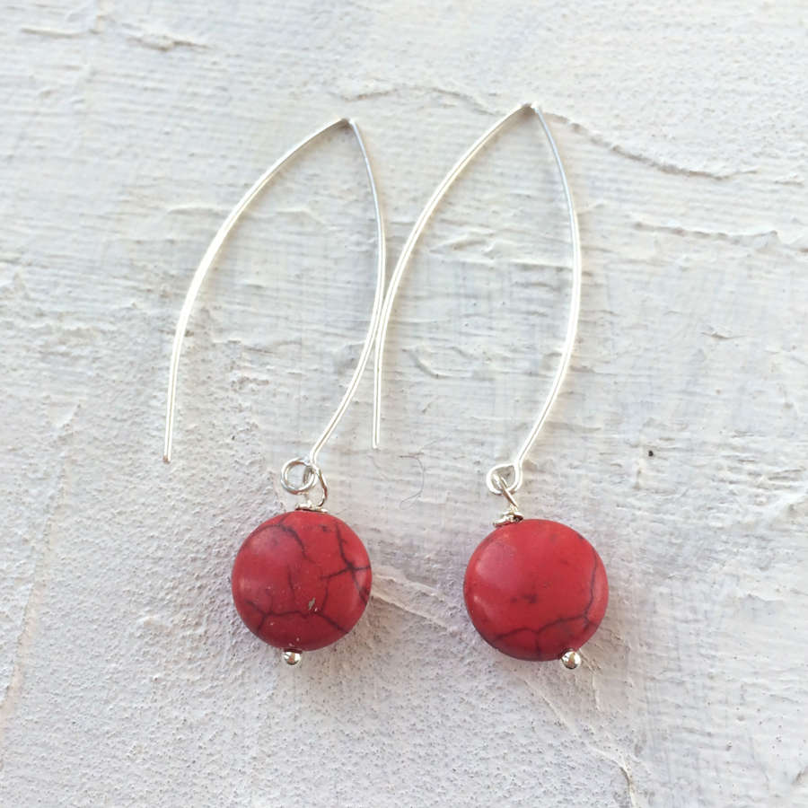 Long Drop earrings red