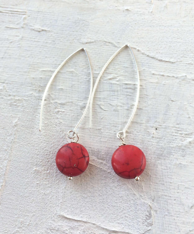 Long Drop earrings red