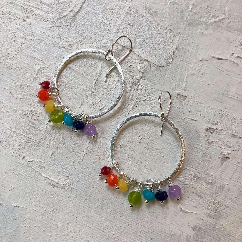Large Rainbow earrings in silver