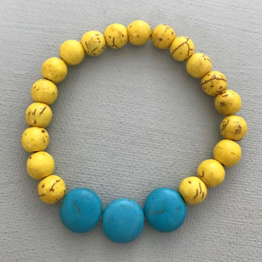 Annie bracelet in turquoise and yellow