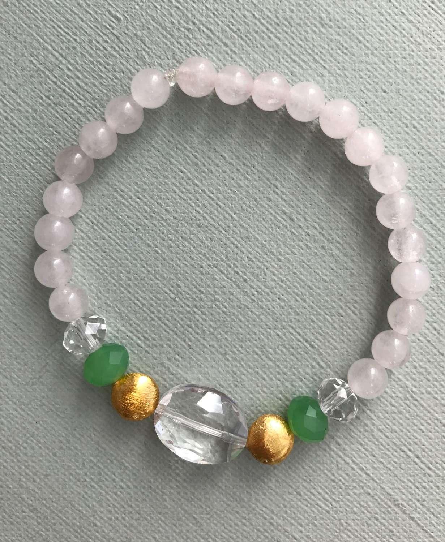 Annie bracelet in rose quartz and green