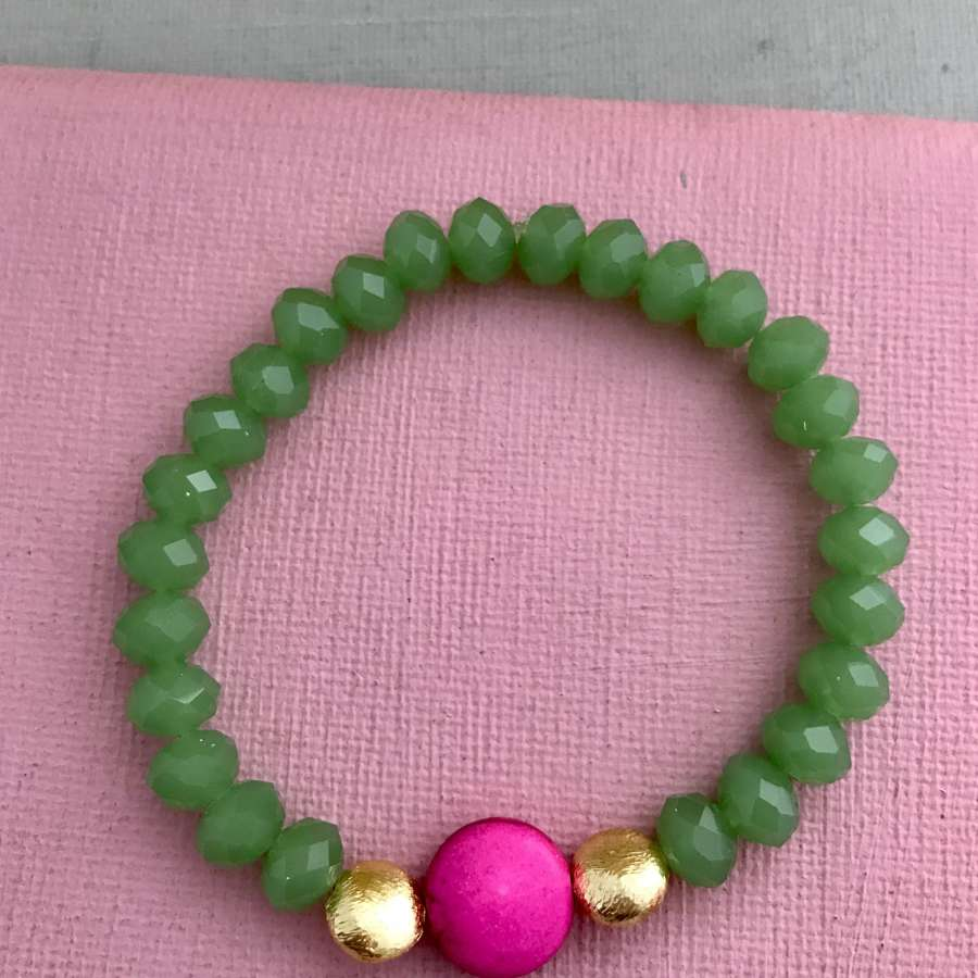 Annie bracelet in candy pink and green