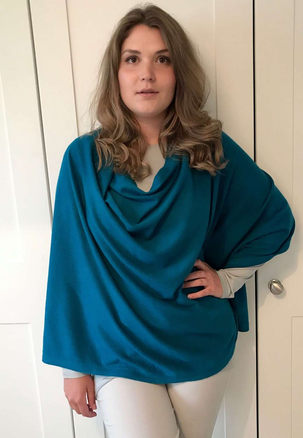 Button Poncho - teal