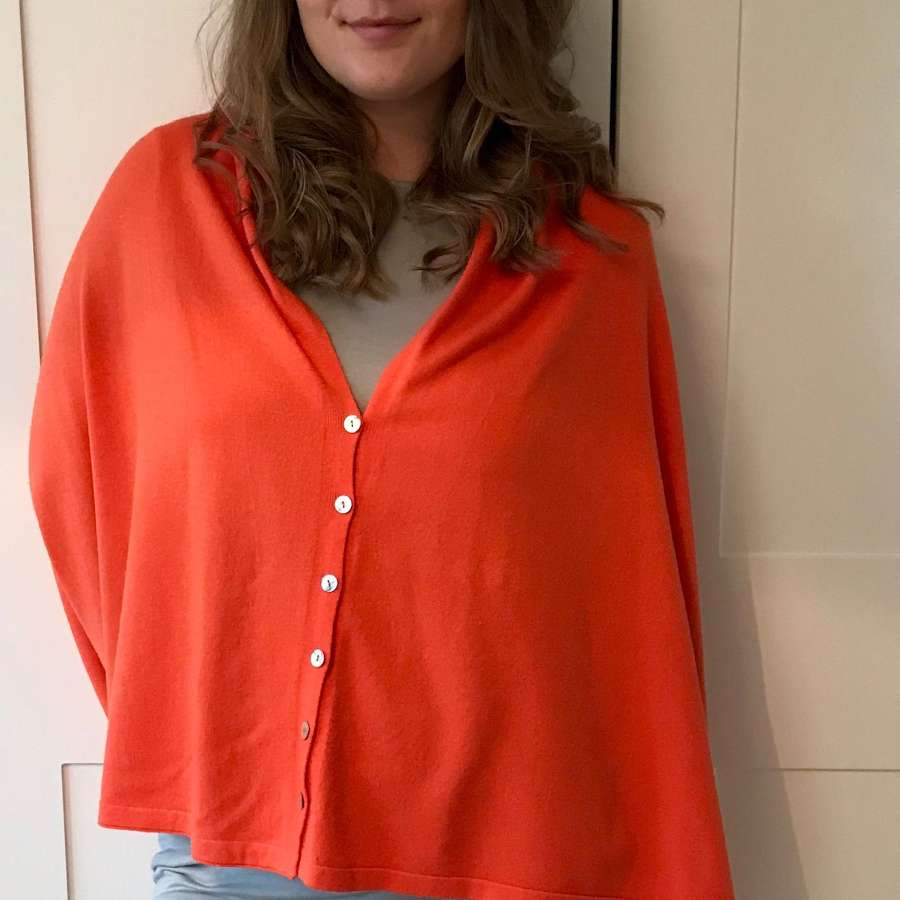 Button poncho - orange