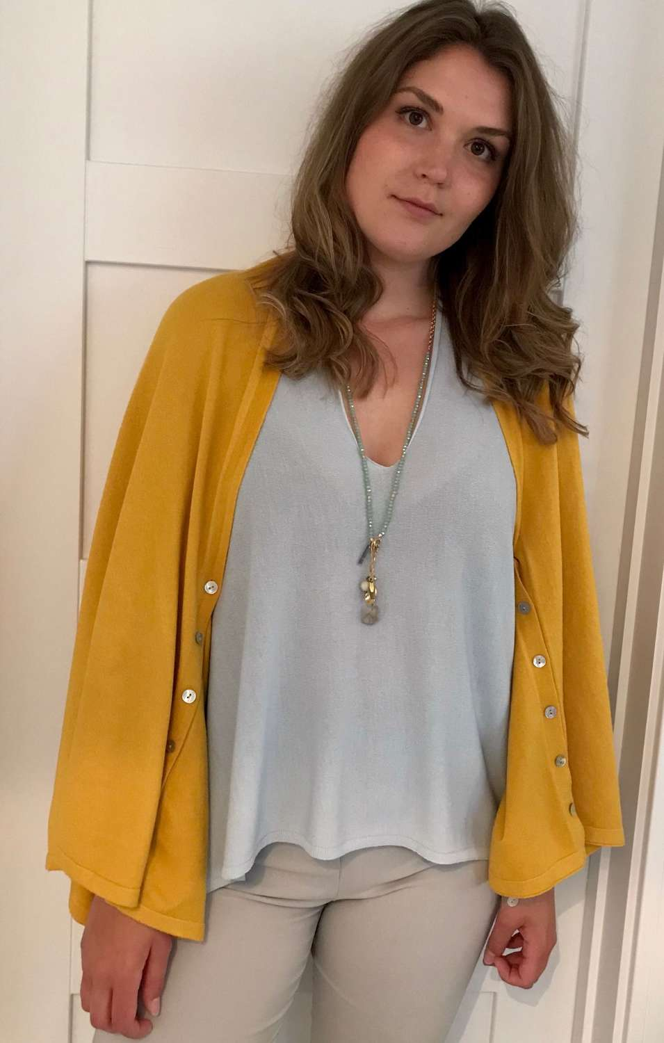 Button poncho - mustard