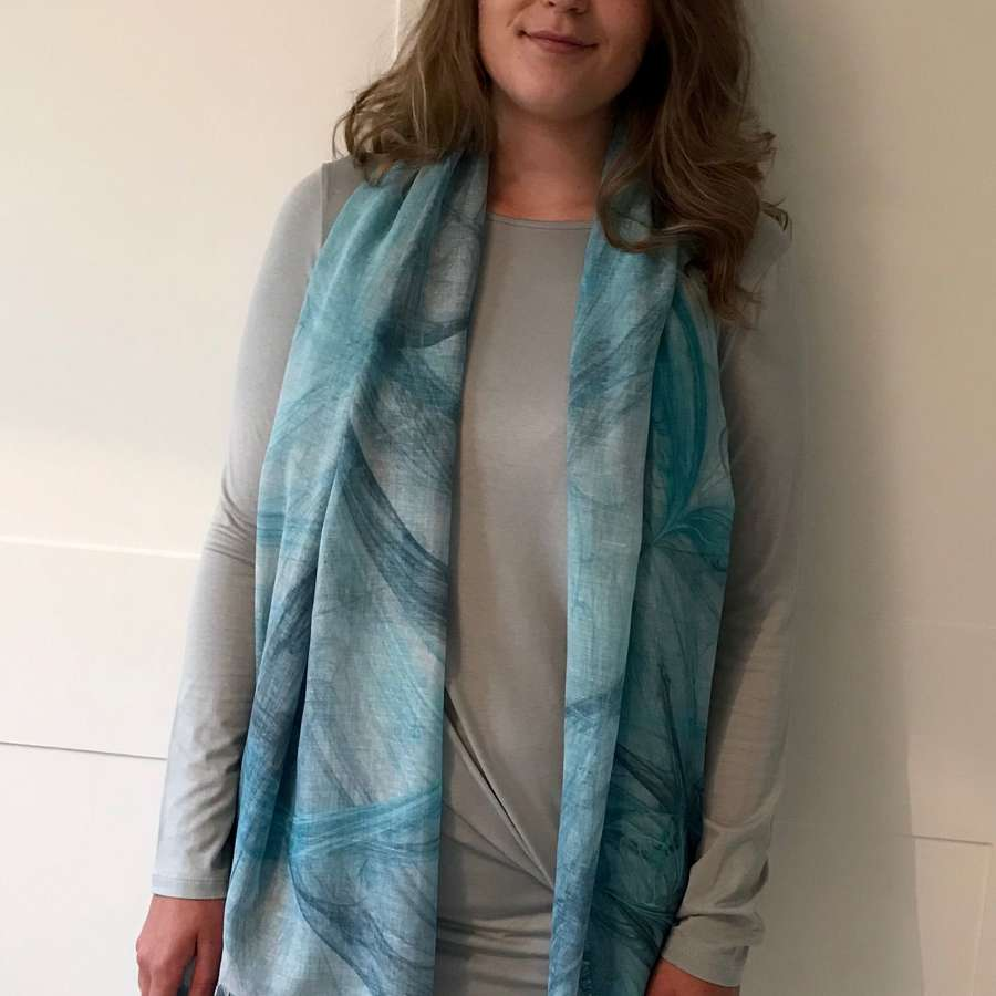 Teal mix scarf