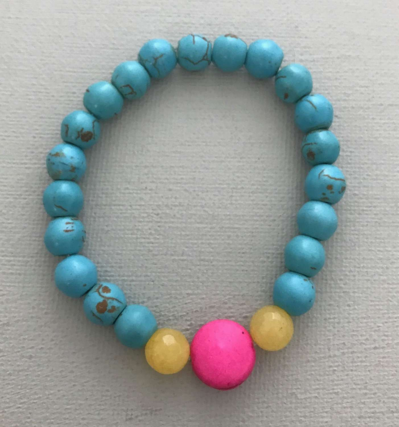 Turquoise and pink Annie bracelet