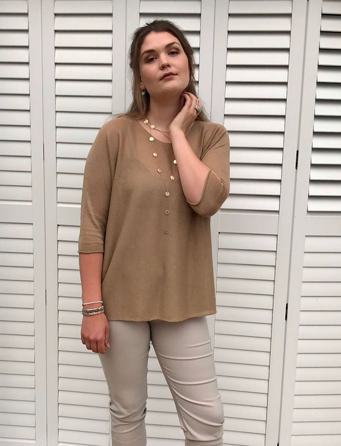 Sparkly Top - Taupe